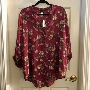 Simply Emma Red Floral Blouse